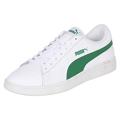 PUMA PUMA Smash v2 L, Baskets Basses mixte adulte - Blanc (PUMA White-Amazon Green), 41 EU (7.5 UK)