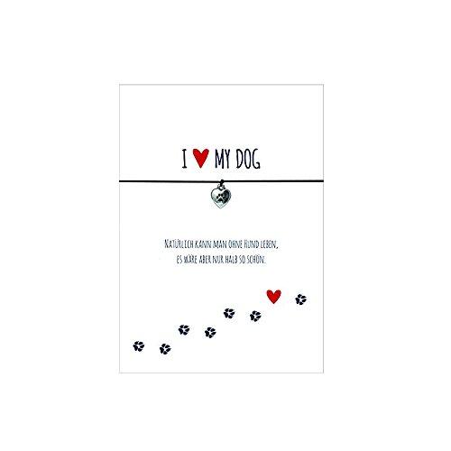 Glücksschmiedin Armband für Hundeliebhaber mit Pfote Anhänger versilbert, elastischem Textilband in schwarz und liebevoller Karte