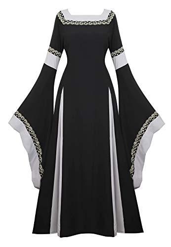 Vestido Medieval Renacimiento Mujer Vintage Victoriano gotico Manga Larga de Llamarada Disfraz Princesa Negro S