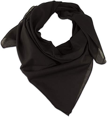 fashionchimp ® BASIC-Baumwolltuch in Uni-Farben, Unisex-Halstuch aus 100% Baumwolle, quadratisch, Damen und Herren (Schwarz Uni)