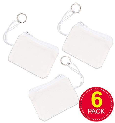 Baker Ross portemonnee met sleutelring van stof - voor kinderen om te versieren - portemonnee - 6 stuks
