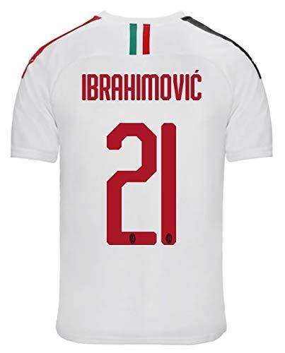PUMA AC Milan - Camiseta Away réplica 2019/2020 Ibrahimovic, Color Blanco/Tango Rojo, para Hombre, Talla M