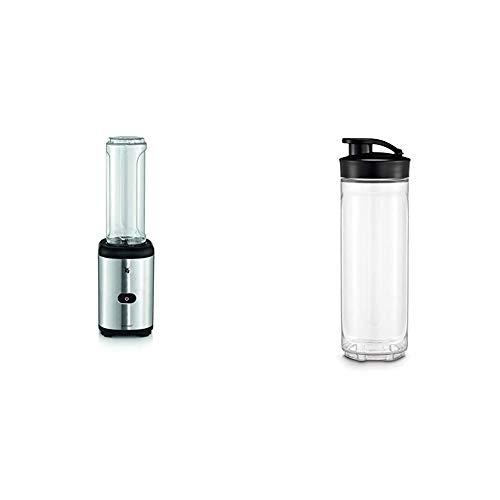WMF Kult X Mix & Go Mini Smoothie Maker mit 2 Mixbehälter, Shake Mixer, Blender elektrisch, 300 Watt, Kunststoff-Flasche 600ml, BPA-frei, edelstahl matt