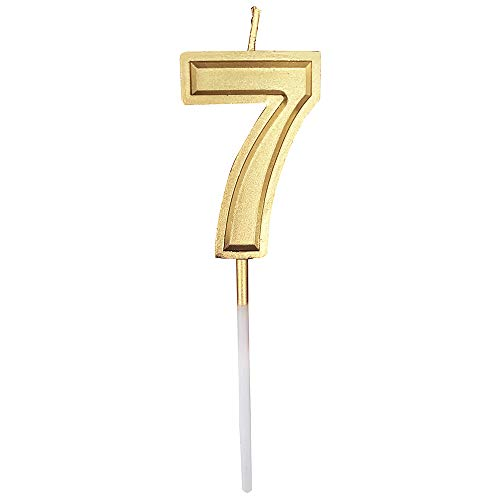Glitter Happy Birthday Gold Numeral Candles Number 7 Cake Topper Decoration for Adults/Kids Party -Gold Number 7