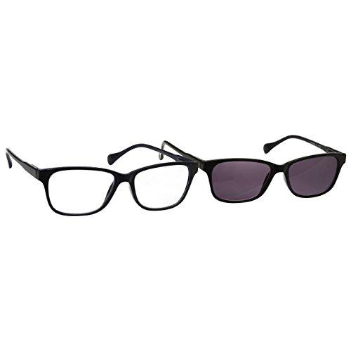 UV Reader Negro Ligero Gafas De Lectura Y Lectores De Sol Paquete Doble Estilo Diseñador Hombres Mujeres Inc Caso UVRPK026 +3,00