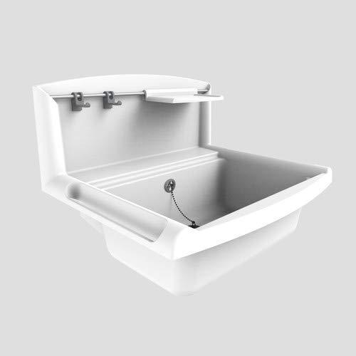 Sanit multiset Multifunktionsbecken (Überlauf + Spritzschutzwand, Inhalt ca. 12 l, mit Seifenschale+Rehling) Farbe weiß, 60.005.01..0099