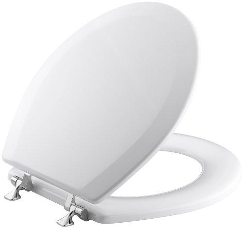 KOHLER K-4726-T-0 Triko Round-front Molded-Wood Toilet Seat with Polished Chrome Hinges, White