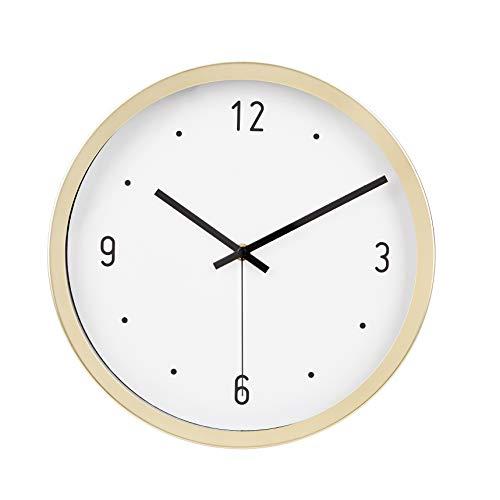 Amazon Basics–Wanduhr, Punkt-Design, 30,5 cm, Messingfarben