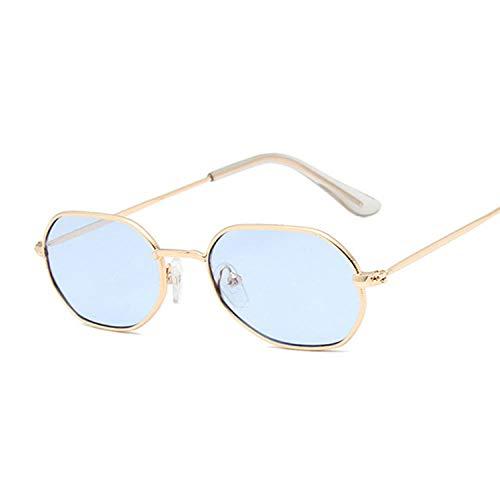 Gafas de sol vintage octágono pequeño FeMale Fashion Shadow Square Metal Frame Gafas de sol rojo amarillo rosa adecuado para pesca al aire libre playa, Oro soplado,