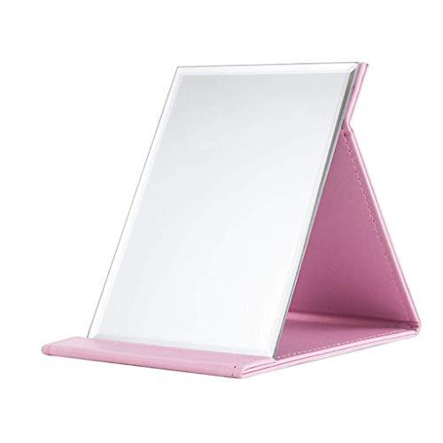 LMDJ Miroir Se Pliant portatif de Maquillage de vanité, Miroir cosmétique de Voyage de Table de Pliage Compact de Cuir d'unité Centrale Mince avec Se Tenir (Couleur : Rose, Taille : S)