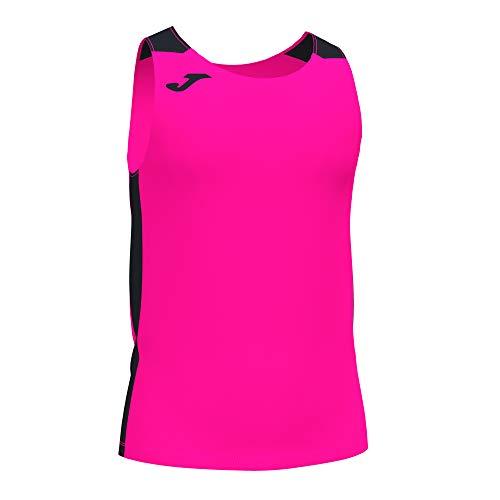 Camiseta Tirantes Record II Rosa flúor Negro