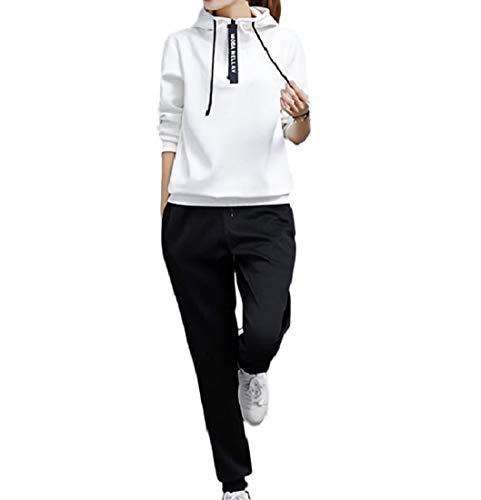 [ジルア] レディース スウェット 長袖 ジャージ パーカー パンツ 上下 セット アップ スポーツ ルーム ウェア ストリート カジュアル ダンス めんず ぱーかー すうぇっと じゃけっと 部屋着 ([日本規格M~L] ホワイト, 白 XL)#007