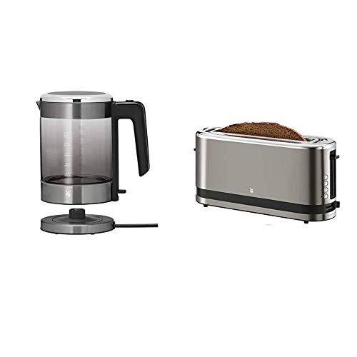 WMF KÜCHENminis Glas-Wasserkocher (1900 Watt, 1,0 l) graphit & Küchenminis Toaster Langschlitz mit Brötchenaufsatz, 2 Scheiben, XXL, 7 Bräunungsstufen, 900W, Toaster edelstahl matt, graphit