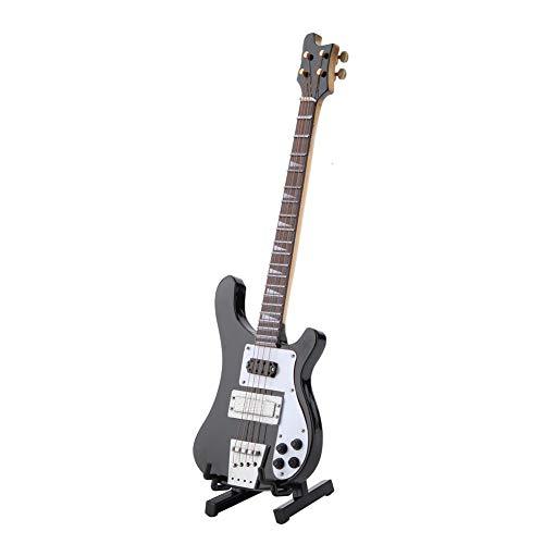 Hztyyier Miniaturinstrument Ornament Black Bass Guitar Replica Modell mit Ständer und Koffer Dekoration Geschenk