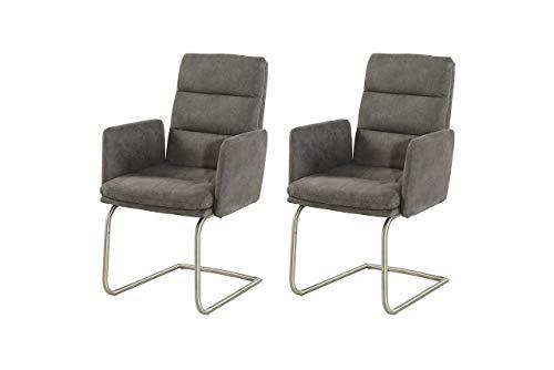 lifestyle4living Stuhl Microfaser anthrazit, Schwingstühle mit Armlehnen 2er Set, hochwertige Polsterung für einen bequemen Sitz, Gestell...