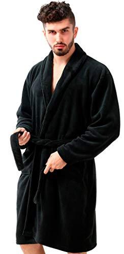 Pembrook Men's Robe – Black - Size S/M - Soft Fleece – Hotel Spa Bathrobe