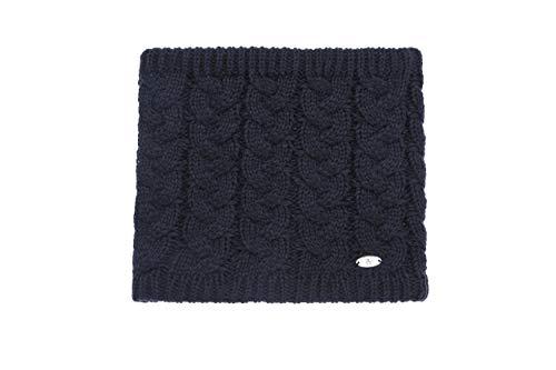 AnJuHoPa Sciarpa in maglia a trecce da donna invernale con scaldacollo scaldacollo in maglia foderata in pile termico Stile classico Taglia unica Blu scuro