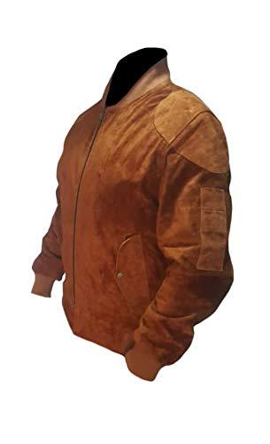 Classyak Chaqueta de cuero estilo exclusivo para hombre de ante marrón mediano
