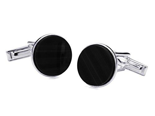 BROOKER Manschettenknöpfe mit Onyx-Stein Applikation Silber