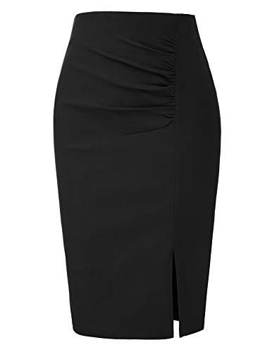 Jupe Plissée Femme Mi Longue Jupe Crayon Moulante Noire Taille Haute XXL BPE2145-1