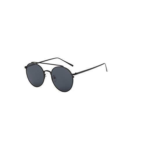 Asien Frauen-Sonnenbrille Flieger polarisierten Metall Spiegel-Sonnenbrille UV-Schutz-Glas-Schwarz-Rahmen grau Objektiv 1PC