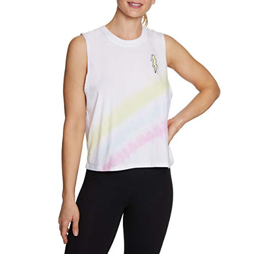 Betsey Johnson Damen Mini Bolt Tie Dye Boxy Tank Yoga-T-Shirt, weiß, Groß