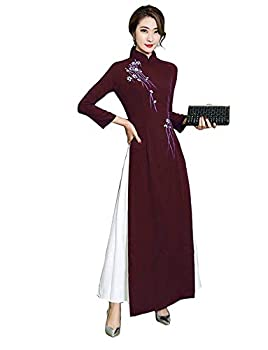 Aries Tuttle Chinese Style Women s Birthday Party Collar Floral Long Cheongsam Dress Retro Gown Qipao Purple-red