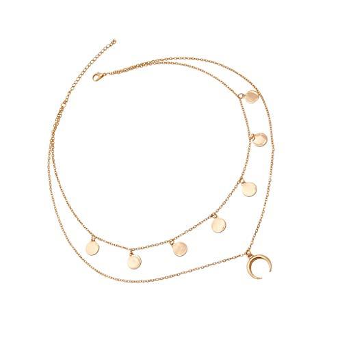 Collar Gargantilla de Doble Capa Colgante de Luna Estilo Bohemio para Mujer - Dorado