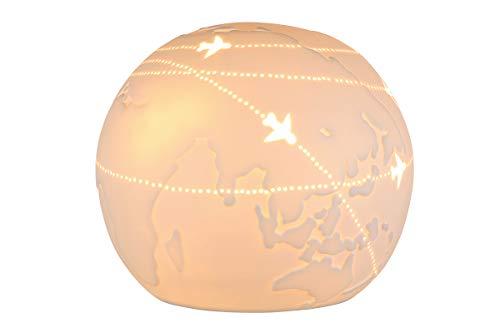 GILDE Tisch Leuchte Weltkugel - Porzellan- Dekoration in weiß D 18 cm