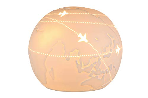 GILDE Lampe Kugel Weltkugel - Porzellan- Lochmuster im Prickellook weiß D 18 cm