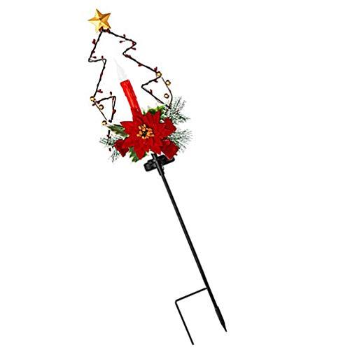 FRCOLOR – Luminária de paisagem de Natal alimentada por energia solar, vela de flor artificial, padrão de árvore de Natal, poste de estaca para decoração de sepulturas de cemitério, para festa de Natal, Ano Novo