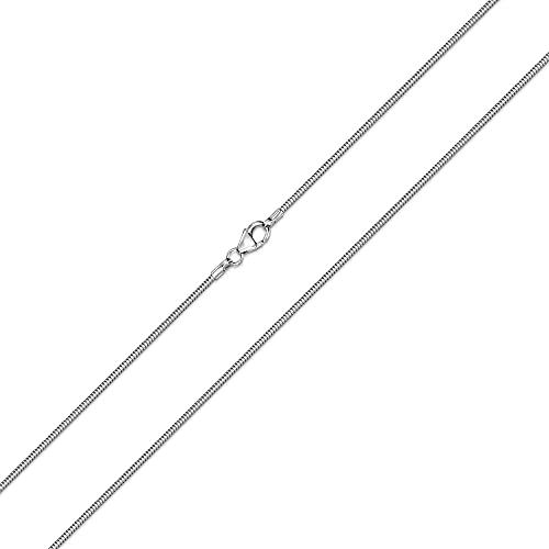 Materia #K22 Catena a serpente da donna in argento 925 rodiato, spessore 1,2 mm, disponibile in 11 lunghezze da 40 a 120 cm, Argento, colore: argento, cod. #K22