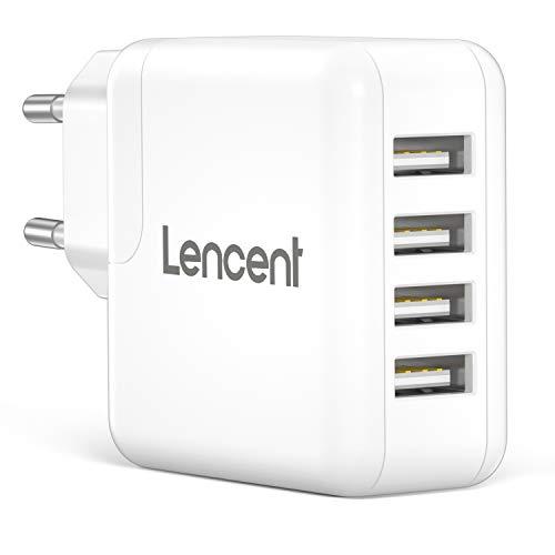 LENCENT Cargador USB Pared con 4 Puerto, 24W/4.8A Cargador Móvil con tecnología Auto-ID, Enchufe Multipuerto Europeo para iPhone, iPad, Samsung, Huawei, Xiaomi, LG, Nexus, HTC y más