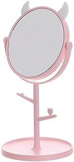 Wusssonggahzj Mirror, Storage Incorporate Vanity Mirror, Desktop Desktop Beauty Mirror for Dormitory, Pink Portable Vanity...