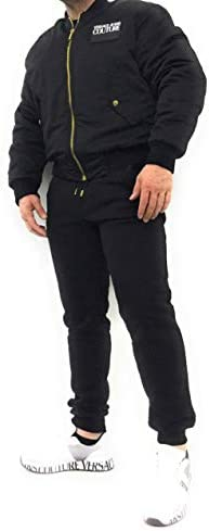Versace Jeans Couture Men s Jacket with Faux Leather Application and Logo on The Front 50 Black product image
