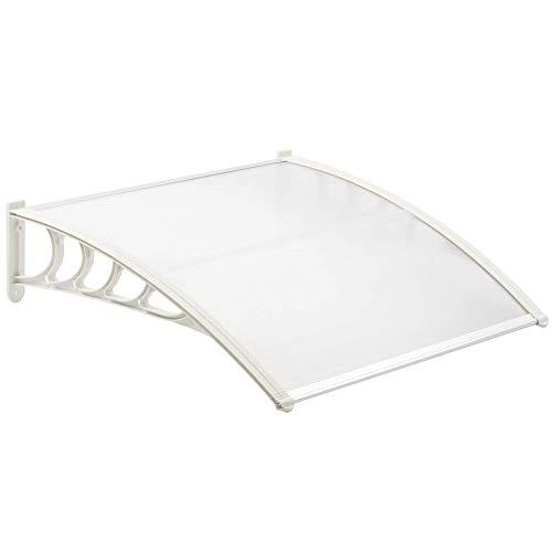 PrimeMatik - Tejadillo de protección 120x90 cm Transparente. Marquesina para Puertas y Ventanas con...