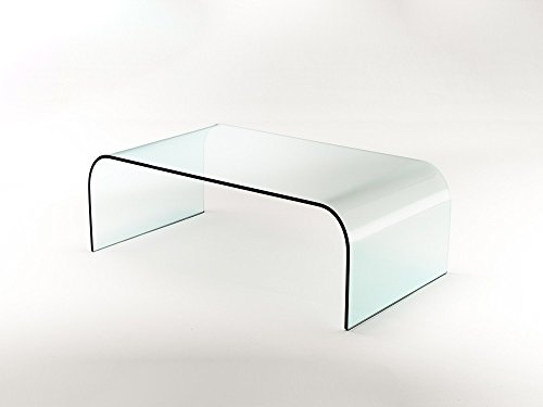 GROUP DESIGN tavolino per salotto Nashville vetro trasparente curvato VT010