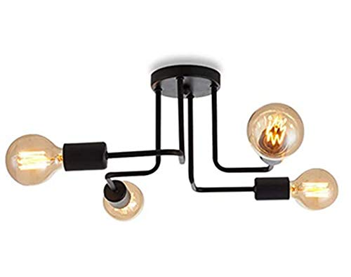 Vintage Ceiling Light, Modern Retro 4 Bulbs Chandelier Black Semi-Flush Mount Ceiling Lamp For Living Room Bedroom And Dining Room(Without Bulb)