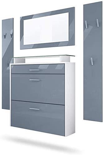 Y la composición ropero panel de alto brillo moderno comprende un zapato, un espejo y dos armario placa idéntica,Grey