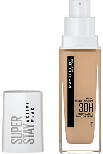 Maybelline New-York - Fond de Teint Liquide Longue Tenue, Sans Transfert, Haute Couvrance - Superstay Active Wear 30h - Teinte : Nude Chaud (31) - Contenance : 30 ml
