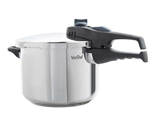 VonShef 07/198US Stainless Steel Pressure Cooker For All Cooking Surfaces, 6.3 FL OZ