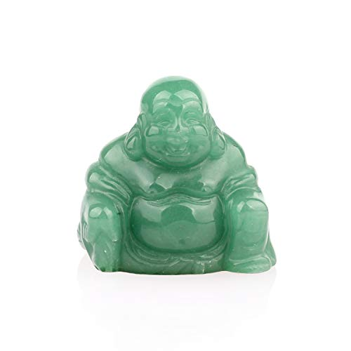 YWG Stone Green Aventurine 38mm Healing Crystal Gemstone Carved Laughing Happy Buddha Feng Shui Figurines Wealth and Good Luck