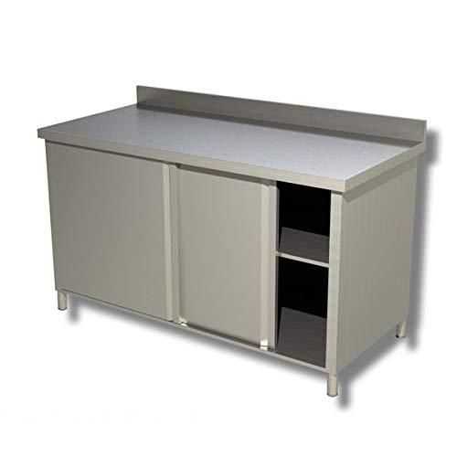 Tavolo acciaio Inox armadiato con scorrevoli e alzatina - Prof. 60 cm - 120x60x85H, SENZA ruote