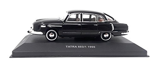 FoxToys DieCast Metall Miniaturmodell Modellauto 1:43 Oldtimer Klassiker Tatra 603 schwarz 1960 Tschechischer PKW Made by IST inklusive Kunststoff Vitrine