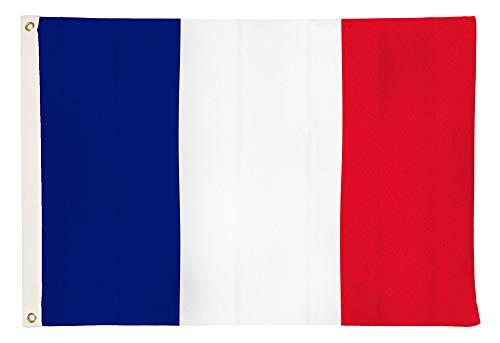 Aricona Frankreich Flagge - Französische Nationalfagge 90 x 150 cm mit Messing-Ösen - Wetterfeste Fahne für Fahnenmast - 100% Polyester