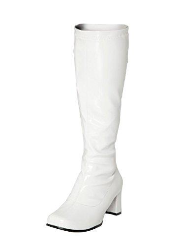 Buckle Shoes BS12733 Damen-GoGo-Stiefel, 1960er-/1970er-Retro-Look, Weiß - weiß - Größe: 45 EU