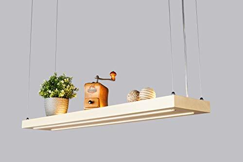 Denidro Lights | LED Holz Hängelampe | Tribus | 3-flammige Dimmbare Pendelleuchte Esstisch | Deckenlampe Wohnzimmer mit LED Streifen | aus massiver Ahorn | als Regal verwendbar | Ahorn 80 cm
