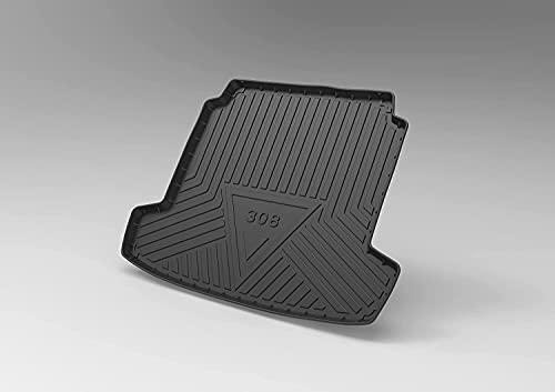 Caoutchouc Tapis de Coffre pour Peugeot 308 2016-2019, Sur Mesure Bac de Coffre Antiderapant, Protection de Coffre, Imperméable Interior Accessories