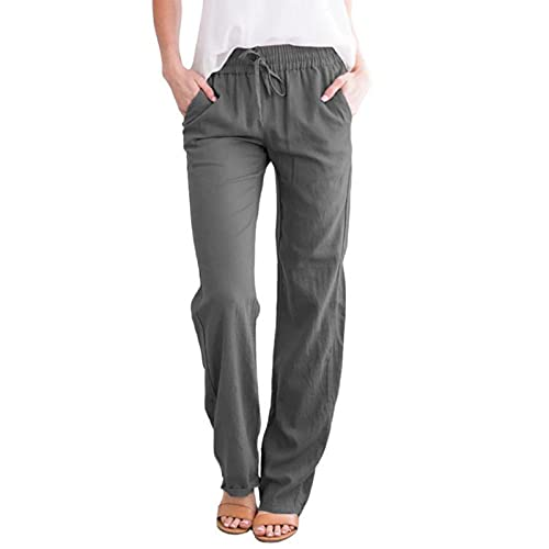 Hawasky Summer Casual Drawstring Elastic Waist Pants for Women Loose Linen Lightweight Yoga Pants with Pockets
