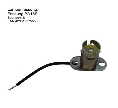 Preisvergleich Produktbild BAS -Sockel für Lampe Positionslampe BA-15s Fassung Bajonettverschluss BA15s mit Feder & Anschlusskabel Bohrung zum Festschrauben Flanschbesfestigung Schiff Boot Jolle Modellbau Lampenfassung BA 15s